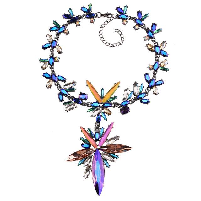 Unique Starburst Chunky Gem Crystal Floral Statement Pendant