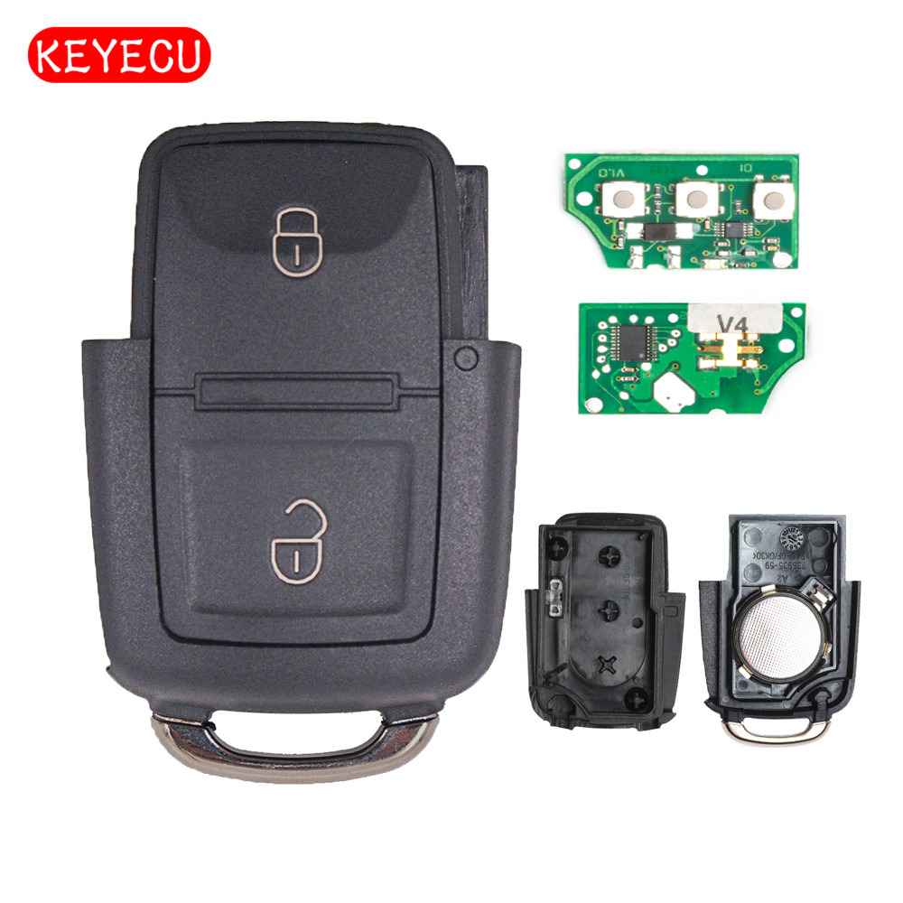 Keyecu Remote Key 2 Button 434mhz For Jetta Passat Golf Beetle Bora 2002 2005 1j0 959 753 Ag