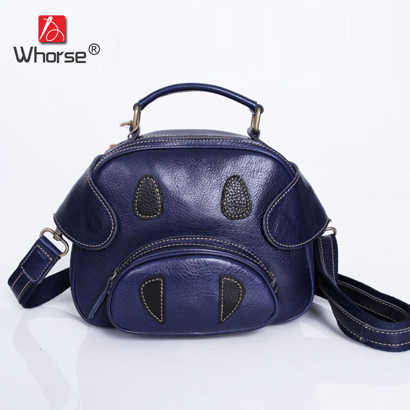 Top Cowhide Vintage Fashion Style Shell Pig Bag Genuine Leather Womens Handbag Shoulder Messenger Bags For Girl Lady W092474 vintage style 3colors top cowhide 100