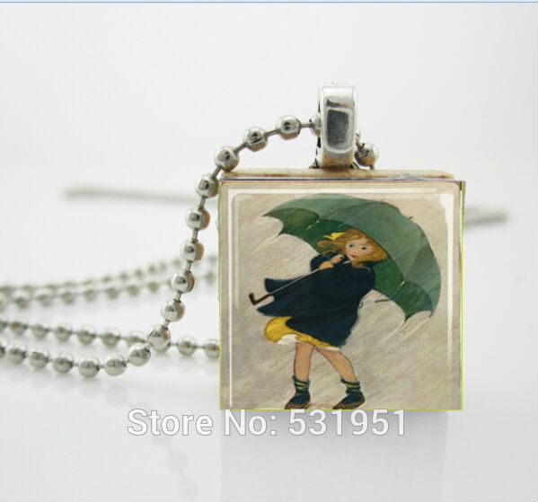 Wholesale Scrabble Jewelry Rainy Day Girl With Emerald Green Umbrella Scrabble Tile Pend ...