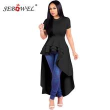SEBOWEL Ruffle High Low Asymmetrical Peplum Plus Size Blouse Shirt Dress Women Chic Solid O-Neck Long Short Sleeve Maxi Dress plus size textured long sleeve high low dress