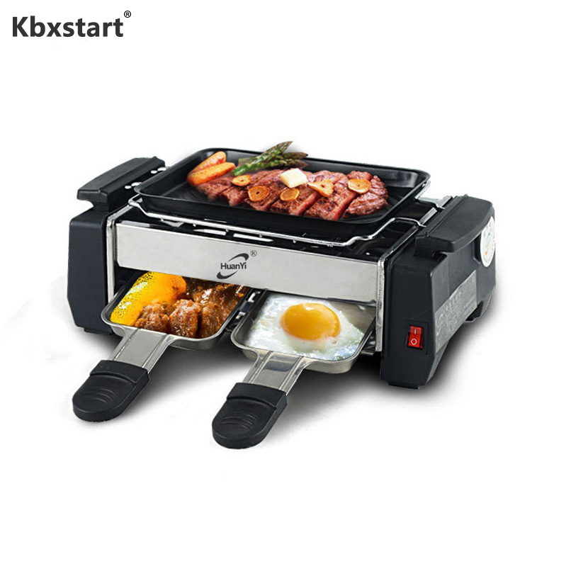 Kbxstart 220V Multifunction Electric Griddles Smokeless Barbecue Adjustable Temperature Non-stick Mini Grill 1000W For Picnic