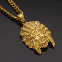 Stainless Steel Leather Gold American Indian Chief Head Pendant Necklace Gothic Indians Head Hip Hop Fashion