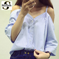 Fora Do Ombro Camisa Blusa Mulheres Verão Nova Moda de Estilo Coreano 2016 Doce Barra Neck Tops Stripe Sexy Camisas Roupas para Senhoras