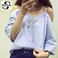 Hombro Mujeres Blusa Camisa Del Verano Nuevo Estilo Coreano de La Manera 2016 Dulce de la Raya Vertical de Cuello Tops de La Raya Sexy Camisas Ropa de Mujer