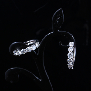 Image 2 - TransGems Sterling Silver 1.8ctw 3.5mm H Color Moissanite Simulated Diamond hoop Earrings for Women Fine Jewelry