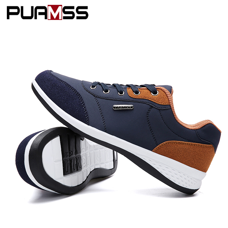 PUAMSS 2019 Autumn Lace-Up Microfiber Leather Casual Shoes