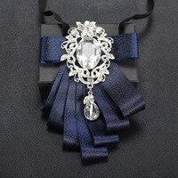 Formal Suit Man Bow Tie Double Layers Polyester Ribbon Wedding Groom Bow Tie Mens Diamond Rhinestone