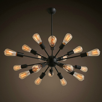 Kostenloser Versand Vintage Retro Sputnik Kronleuchter 18 Lichter Metall Schwarz Malerei Lampen nicht Inkl E26 E27 Loft Foyer Lampe Beleuchtung