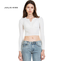 American Apparel Long Sleeve Sexy Slim T Shirts High Elastic Buttons Down Plain Crop Tops Scoop