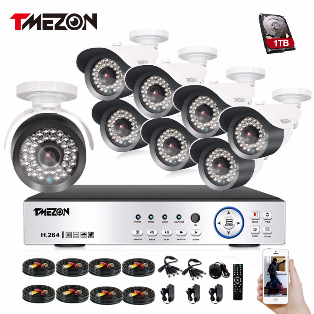 Tmezon HD AHD 1080P DVR NVR HVR Home Security Surveillance CCTV System 8pcs Bullet 1080P 2.0MP Camera Outdoor Weatherproof Kit tmezon 16ch dvr 16pcs 1200tvl camera security surveillance cctv system outdoor ir night vision bullet waterproof 1tb 2tb hd kit