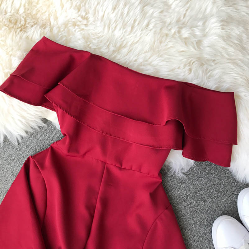 HTB1FsmvcoGF3KVjSZFoq6zmpFXat - Candy Color Elegant Jumpsuit Women Summer Latest Style Double Ruffles Slash Neck Rompers Womens Jumpsuit Short Playsuit
