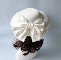 White Large Bow Wedding Hat For Women Fashion Princess Royal Party Satin Headdress Bride Church Fedora Hat Hair Accessories New