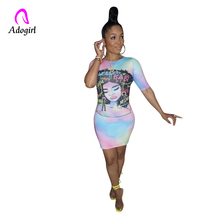 Adogirl Tie Dye Print Women Casual Dress O Neck Short Sleeve Bodycon Sheer Mini T Shirt Dresses Female Night Club Party Outfits casual loose bag hip long section t shirt women 2019 new summer short sleeve o neck ladies night club female mini dress t shirt
