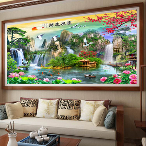 Image 3 - QIANZEHUI,DIY 5D Welcome pine Flowing money Embroidery,Round Diamond Full rhinestone Diamond painting cross stitch,needlework