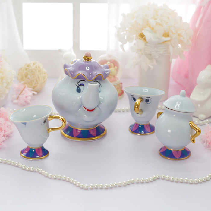 Kecantikan dan Binatang Tea Set Mrs Potts Chip Teko Piala Set Porselen Kopi Hari Valentine Hadiah