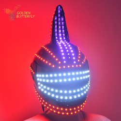 LED helm 2017 Einhorn helm Monochrome vollfarbe leucht Racing helme RGB wasserfall-effekt Glowing Partei DJ Robot Maske