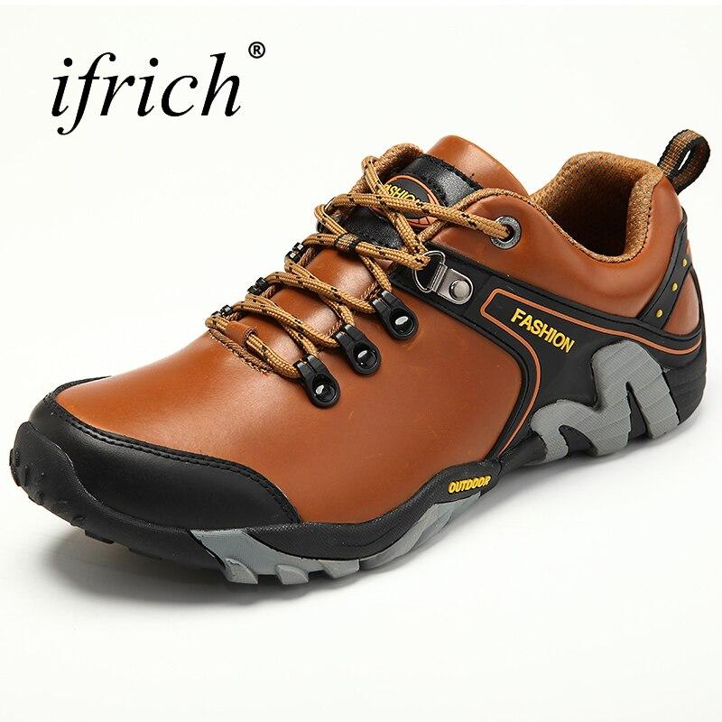 Gran venta de zapatos de senderismo para hombres botas deportivas al aire libre zapatillas de montaña de cuero Otoño Invierno cómodos zapatos de senderismo al aire libre para hombres-in Zapatos de senderismo from Deportes y entretenimiento on AliExpress - 11.11_Double 11_Singles' Day 1