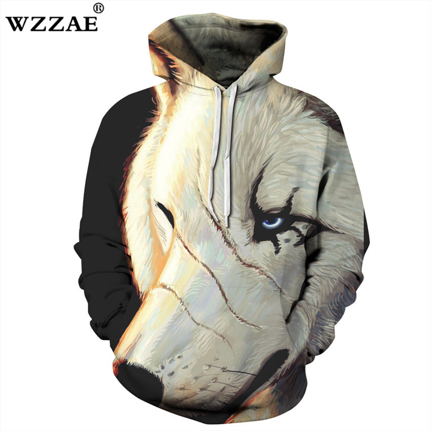 2018 New Design 3D Hoodies Men Scars White Wolf 3D Print ...