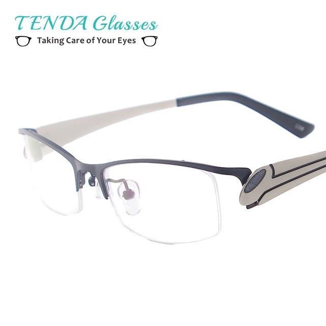 bc4e04c51fa Metal Half Rim Spectacles Women Eyeglass Frames Prescription Glasses For  Myopia and Reading Lenses