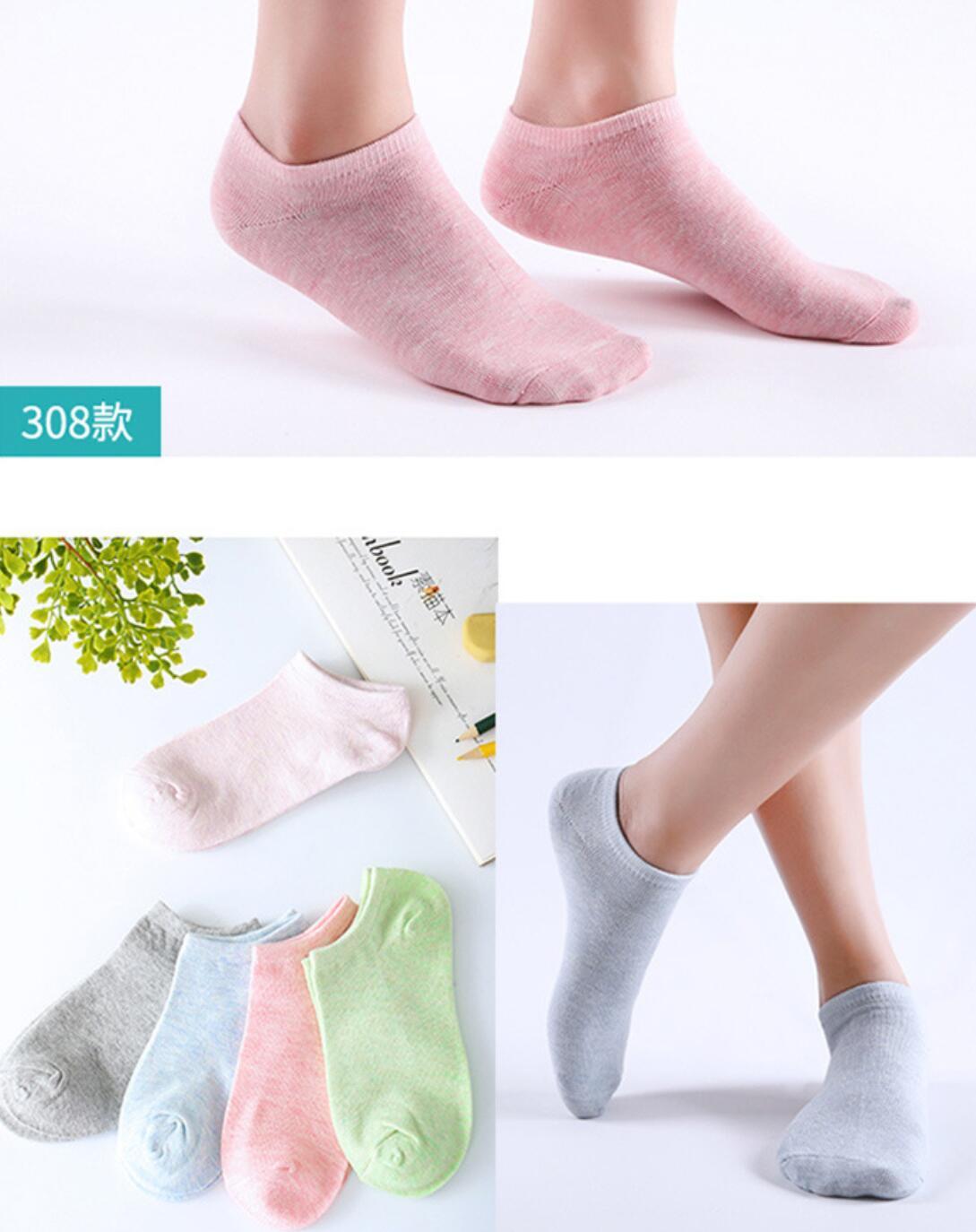 NOUVEAU 2018 Mode Printemps Coton Femmes de Chaussettes 9-88 Femmes Solide Couleur Unie chaussettes courtes W093-01-W093-05