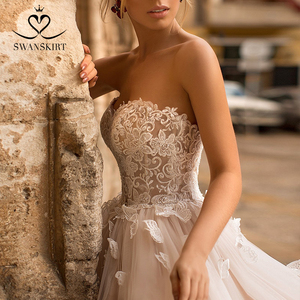 Image 4 - Romantik 3D kelebek düğün elbisesi 2020 Swanskirt aplikler A Line prenses dantel Up gelin kıyafeti vestido de noiva N101