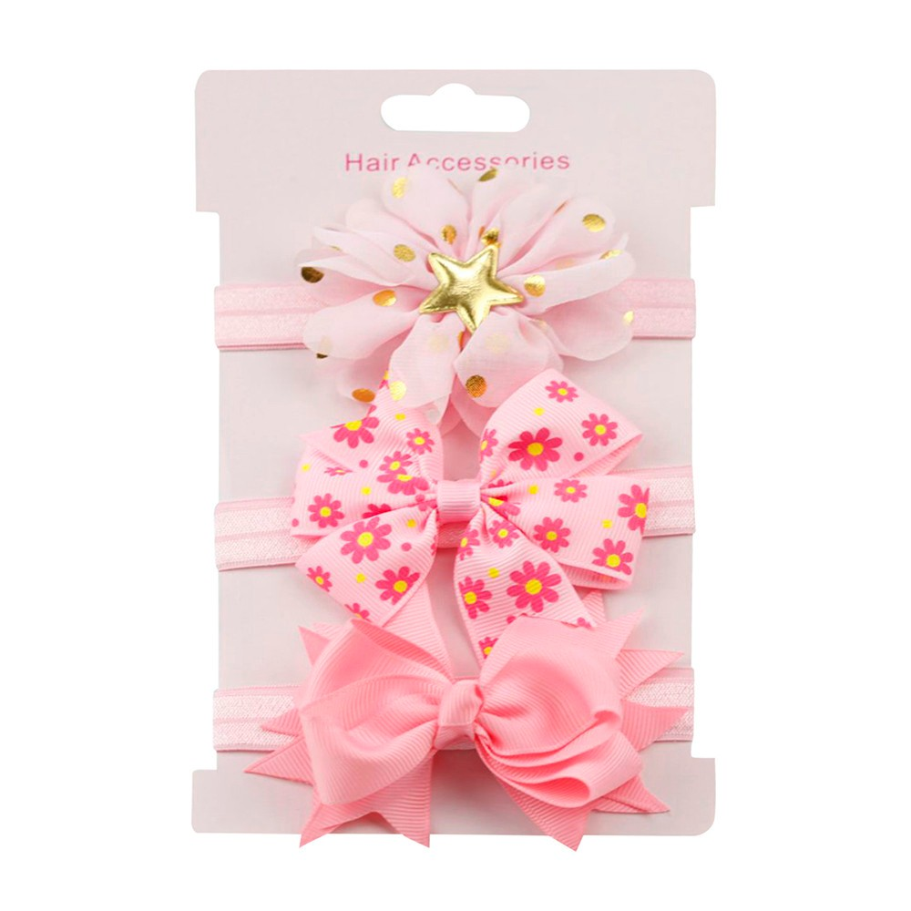 3Pcs Baby Girl Hair Accessories Kids Baby Headband Elastic Floral Headband Bowknot Hairband Set Head Bands For Baby Girls multicolor flower bowknot hairband