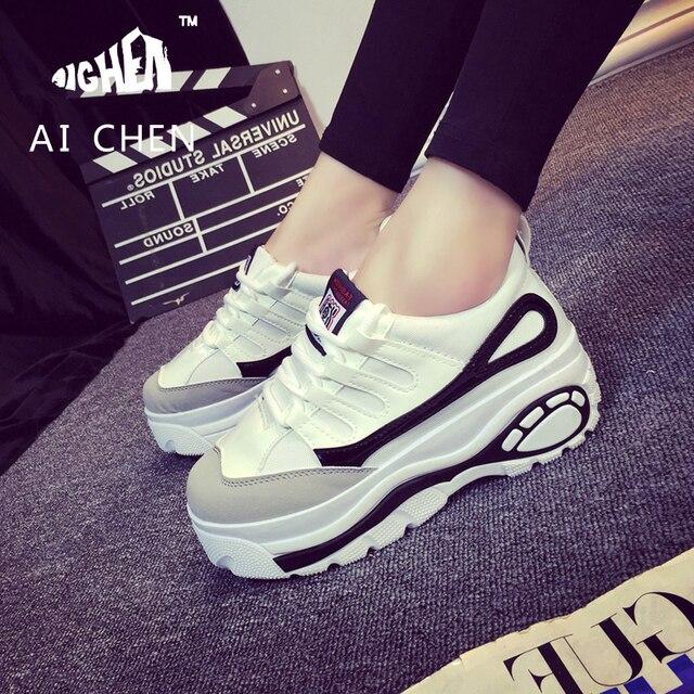 06d7c29387305 2017 Spring Autumn Women Shoes Korean Women Trifle Shoes High Platform  Trainer Height Increase Shoes Zapatillas Deportivas