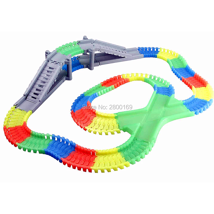 DIY-Slot-Create-A-Road-Glow-race-track-Bend-Flex-Glow-in-the-Dark-Assembly-Toy-Flexible-Track-166225PCS-with-5-Led-light-cars-4