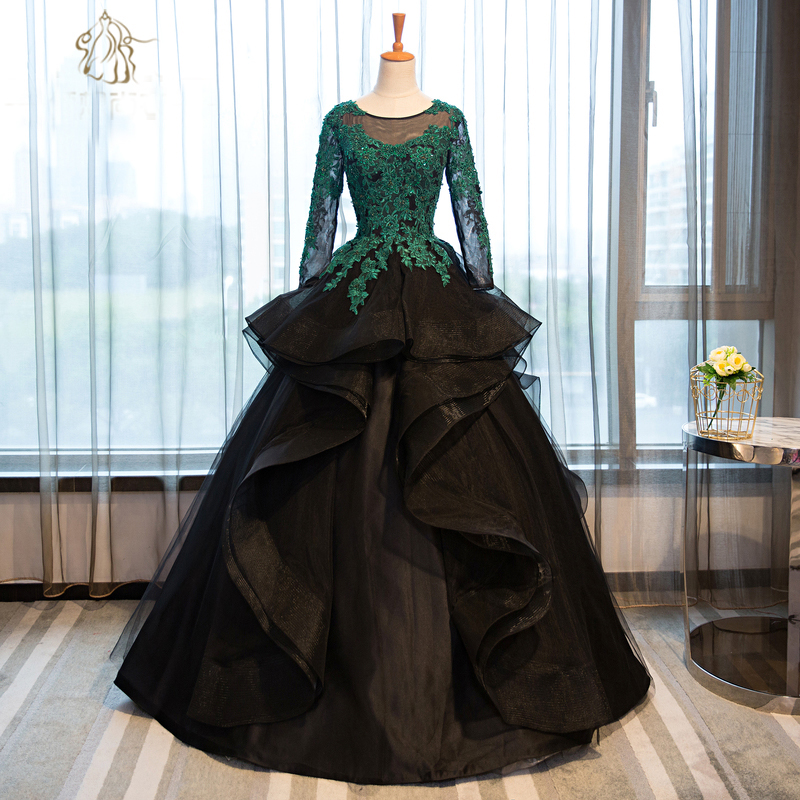 ᗑ】green lace embroidery beading black ball gown medieval dress ...
