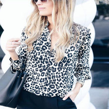 Shirt 2018 autumn and winter fashion print Slim street suit collar leopard button female long-sleeved shirt