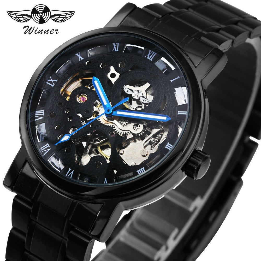 WINNER Men Watches Classic Black Automatic Mechanical Watch Cool Black Skeleton Unisex Watch HOT TOP LUXURY BRAND with GIFT BOX luxury watch brand agelocer vogue automatic watch steel luxury men s watch skeleton mechanical watch with original gift box