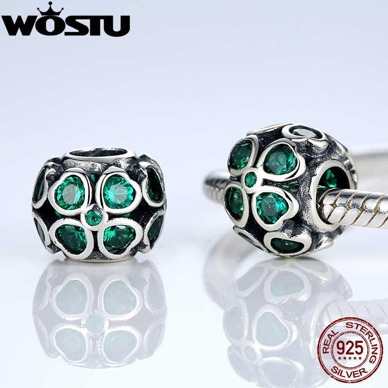 אמיתי 925 סטרלינג כסף ירוק מזל תלתן קסם Fit מקורי WOST צמיד שרשרת תכשיטים אותנטיים נשים ZBBS163
