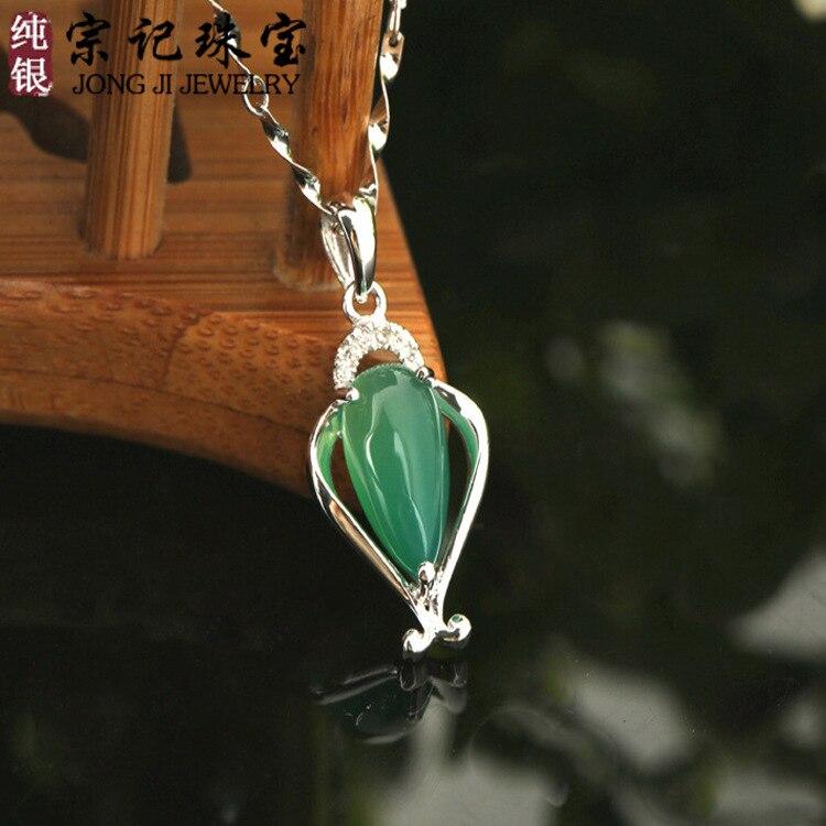 a015c47bce8c Plata 925 COLLAR COLGANTE natural piedras semipreciosas verde Calcedonia  verde mujeres joyas novia regalo