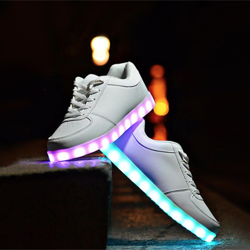 Shoes Usb Charge Led Shoes Couple Casual Shoes With Led Luminous Men Shoes Light Up Male Shoes Zapatos Mujer Fashion Lace Up Loafers Attractive Appearance