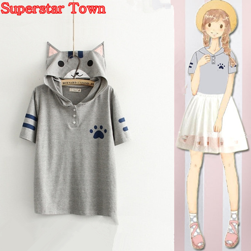 Summer Style Women Tops Anime Kawaii Cat Shirt Neko Atsume School Clothes Kawaii Mori Girl Tee Roupas Superstar Town
