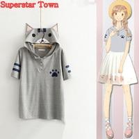 Summer Style Women Tops Anime Kawaii Cat Shirt Neko Atsume School Clothes Kawaii Mori Girl Tee