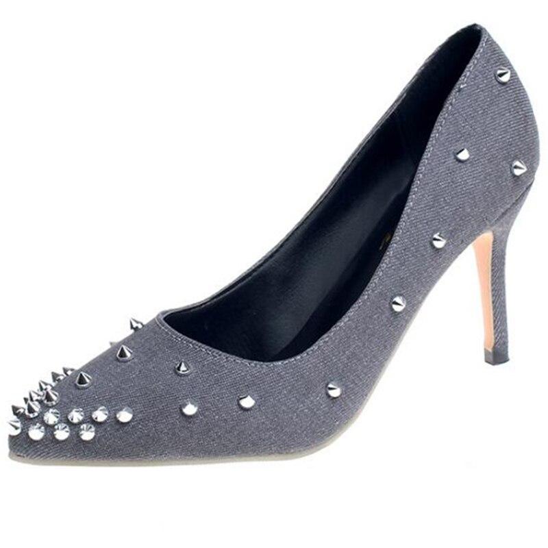 Tacones Delgada Covoyyar Punta Stiletto Whh634 De Otoño Denim Moda Mujeres 2019 Zapatos azul Primavera gris Bombas Negro Remaches FPgxAvwF