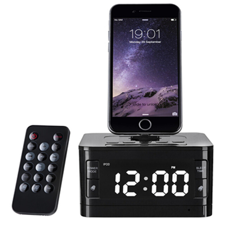 Brand LCD Digital FM Radio Alarm Clock Music Dock Charger Station Bluetooth Stereo Speaker for iPhone 5s 6 6s plus for iphone 7 sangean am fm rds atomic clock radio with ipod dock