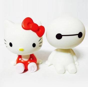 Милый KT Cats Big Hero 6 Baymax, аниме, ПВХ, экшн-фигурка, мультипликационный робот, трясущиеся куклы бэймакс, автомобильный декор, голова-поплавок, детская игрушка в подарок