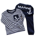 Vogue 2017 Spring/Autumn Kids Clothes Navy Long Sleeve Pullover Striped Children Sports Suit Casual Girls/Boys Clothing Set