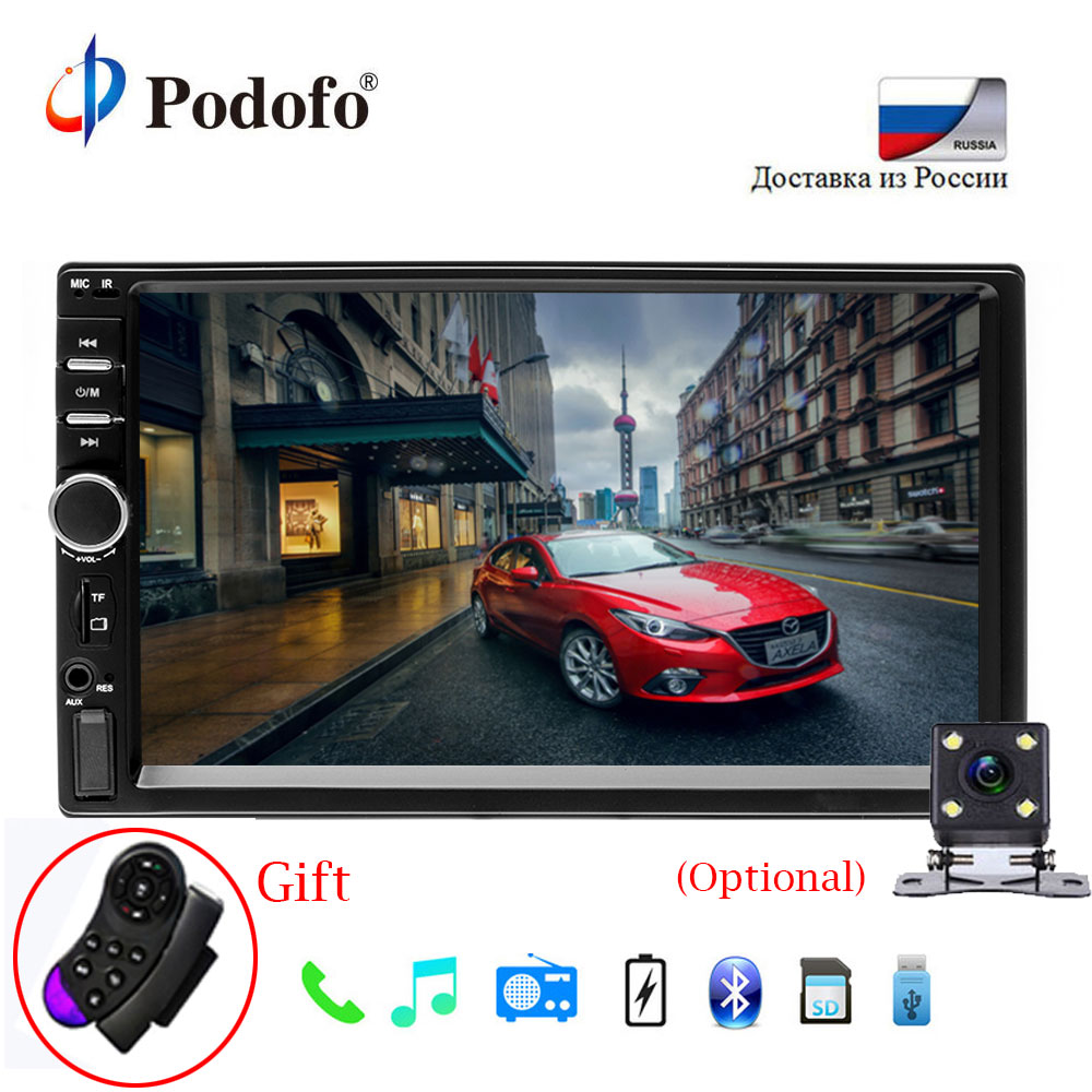 Podofo Autoradio 2 Din General car radio 7 LCD Touch Screen Car Stereo Player Bluetooth MP5 Car Audio Support Rear View Camera podofo 2 din car radio 6 6 lcd touch screen car audio 12v auto radio player with bluetooth fm rear view camera autoradio stereo