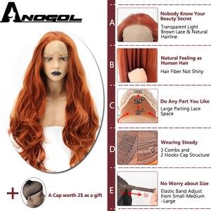 Image 2 - Anogol fibra de alta temperatura parte livre laranja natural longo corpo onda de cobre vermelho sintético peruca dianteira do laço para mulher branca