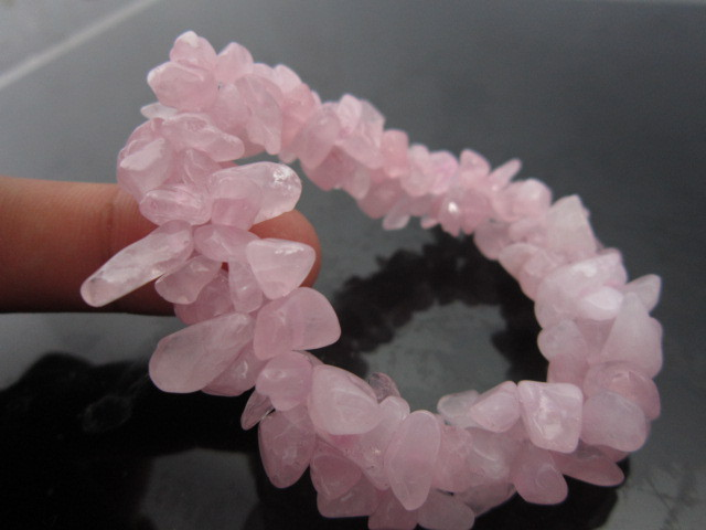 Natural Rose Quartz Pink Crystal Stone Gravel Bracelet Beads Diy Jewelry Making