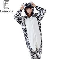 Adults Unisex Cartoon Animal Flannel Jumpsuits Onesies Pajamas Zebra Cosplay Costume Lovers Homewear