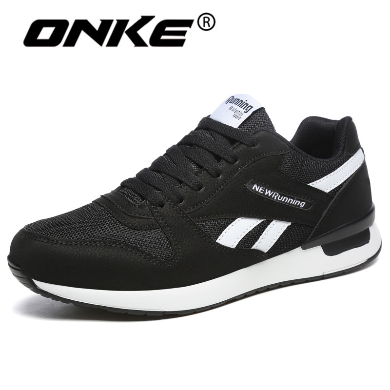 Onke Sneakers for Men Breathable Mesh Male Running Shoes Black White Outdoor Sports Shoes Lightweight Walking Jogging G720 2017 merrto mens walking shoes breathable mesh outdoor sports shoes travel shoes for male blue grey black free shipping mt18661