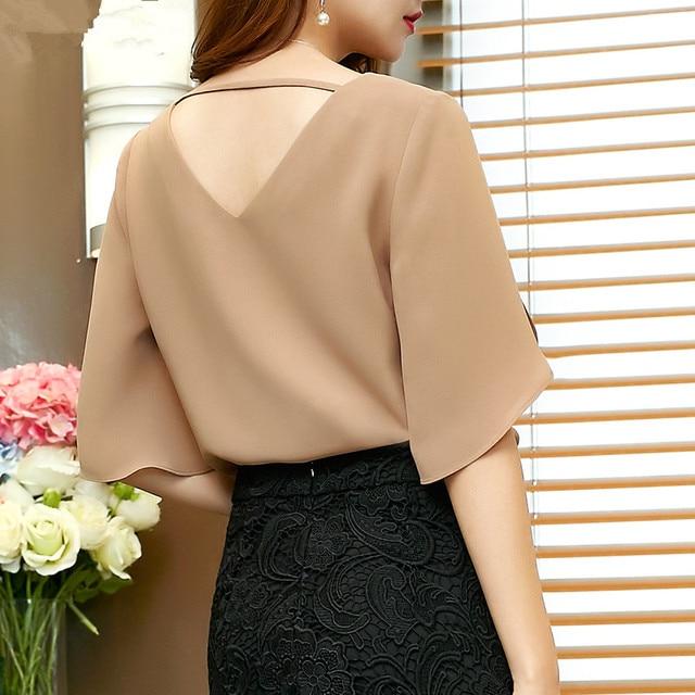 2019 chiffon women blouse shirt new Fashion Short flare Sleeve Women's clothing Sexy V-neck Plus Size lady tops blusas 900C 30 5
