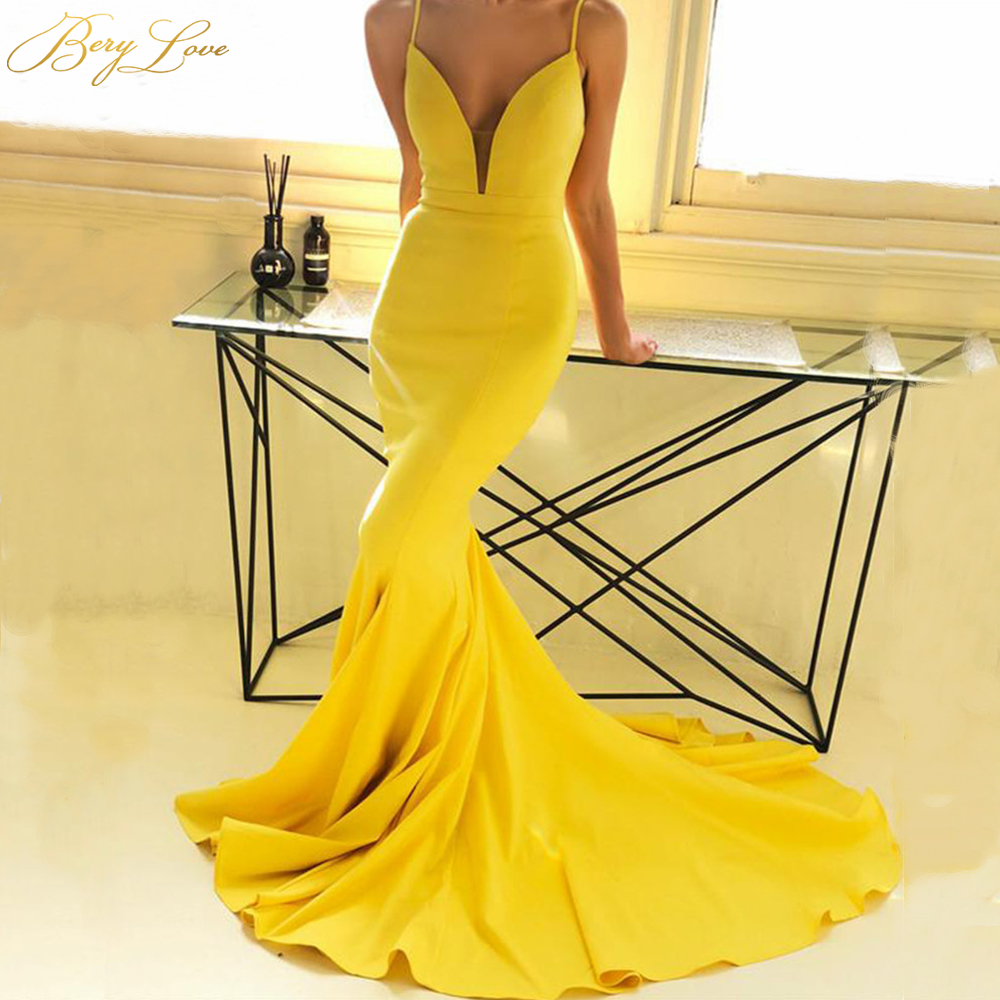 BeryLove Bright Yellow Deep V Neck Evening Dress 2019 Low Open Back Gown Court Train Formal Party Dress Prom Dress