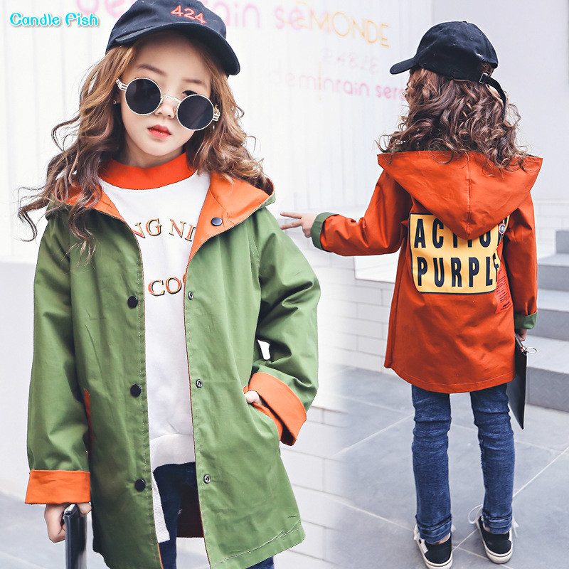 Children's clothing 2018 spring new girls on both sides wear ,the long coat, trench coat letters hooded long coat