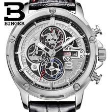 Switzerland watches men luxury brand Wristwatches BINGER Quartz men's watch leather strap Chronograph Diver glowwatch B6009-3